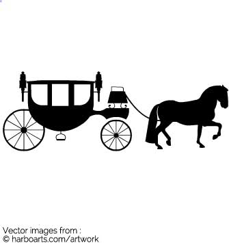 Download : Wedding Horse Carriage Silhouette.