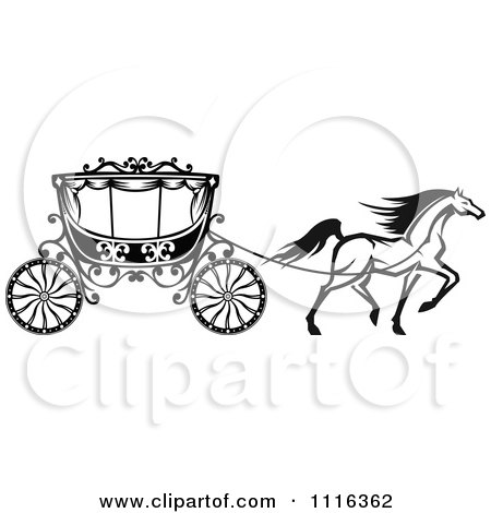 Clipart Black And White Horse And Romantic Wedding Carriage.