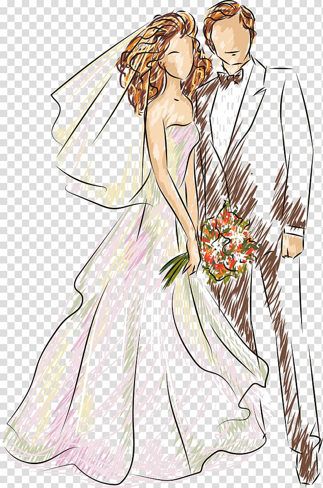 Wedding Illustration, wedding, bride and groom illustration.