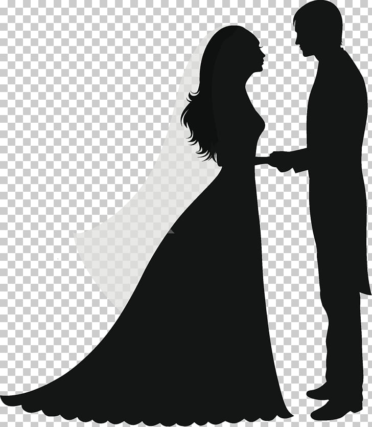 Wedding invitation Silhouette Marriage couple, bride, groom.