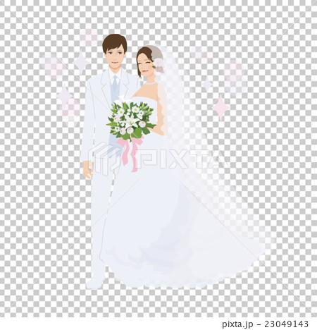 Wedding illustration wedding dress bride and groom.