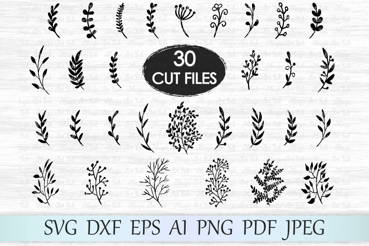 Leaf svg file, Leaves svg file, Branches svg file, Wedding invitation  clipart, Hand drawn leaves, Ornament svg file, Foliage cut file, Plant.