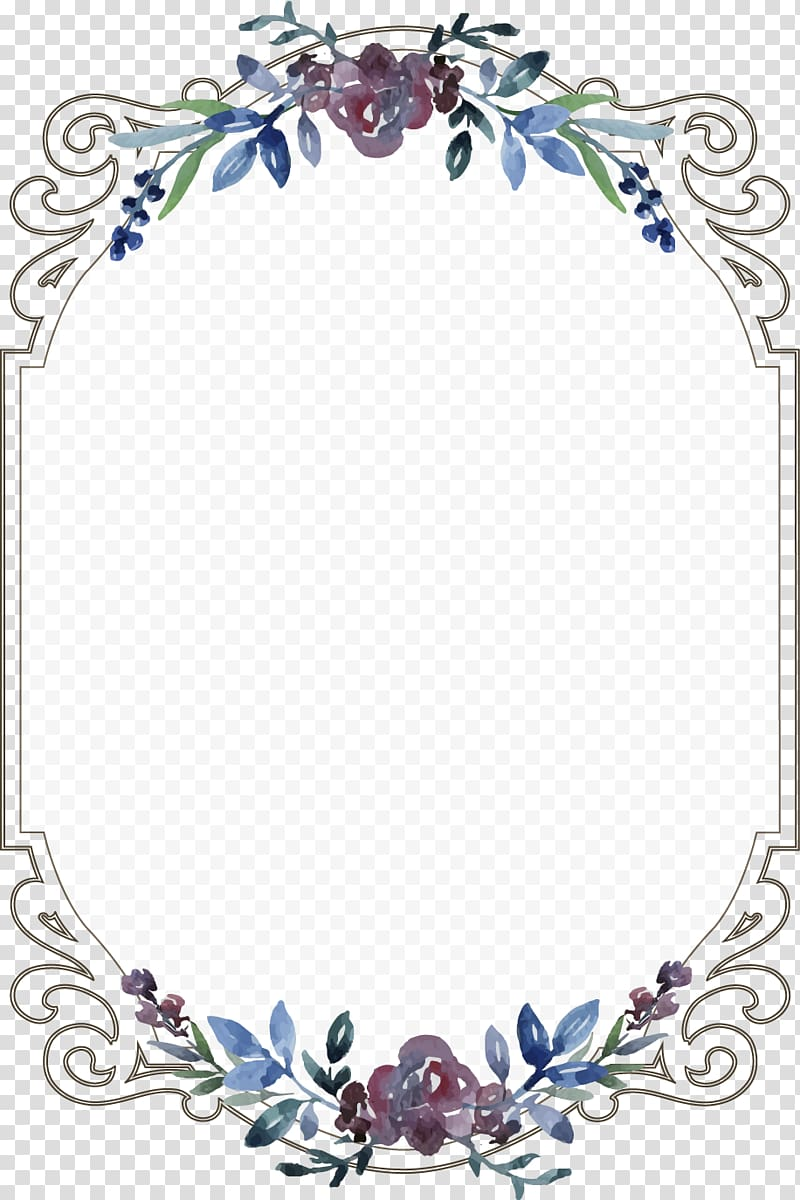 Wedding invitation Menu Template, Vintage floral border.