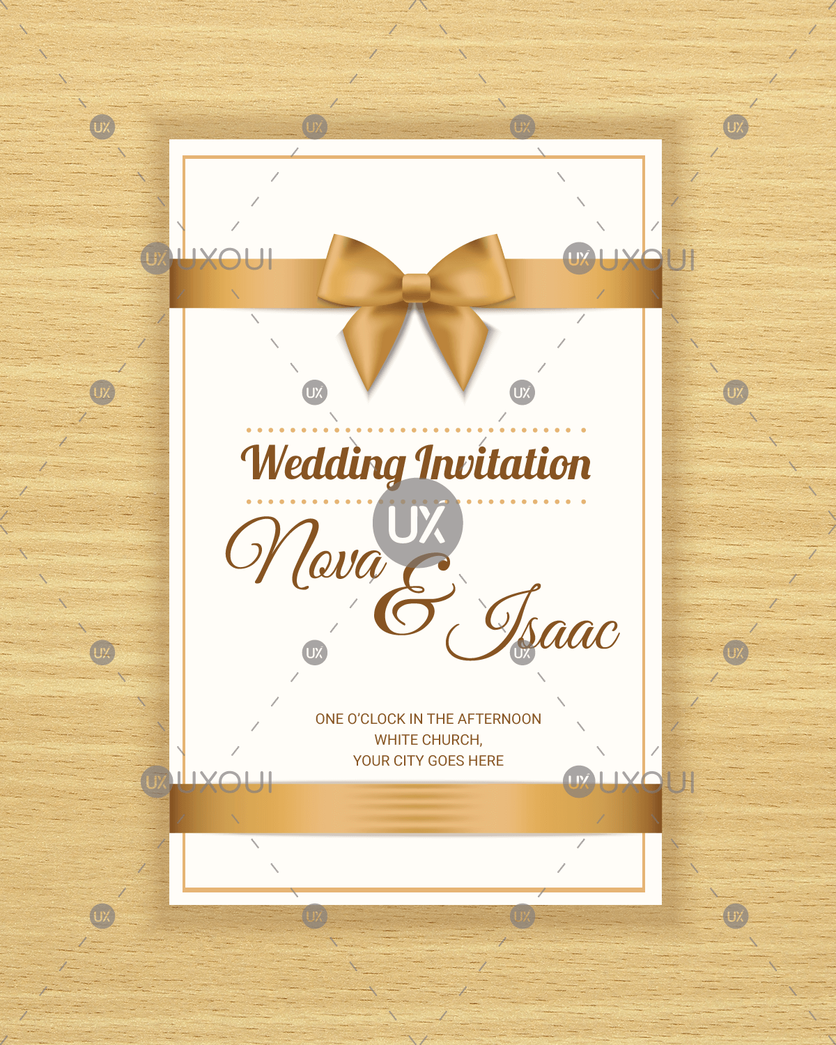 Free retro wedding invitation card template design vector with a ribbon.