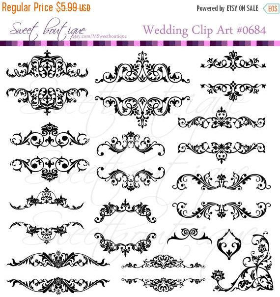 Xmas SALE Flourish Frames Clip Art Digital Flourishes.