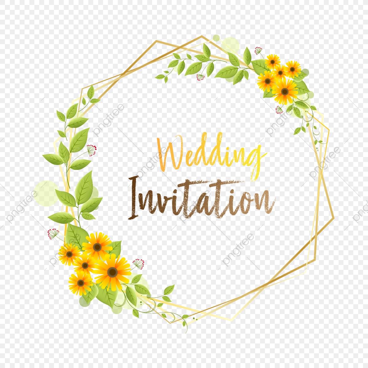Beautiful Wedding Floral Gold Frame Invitation, Wedding.