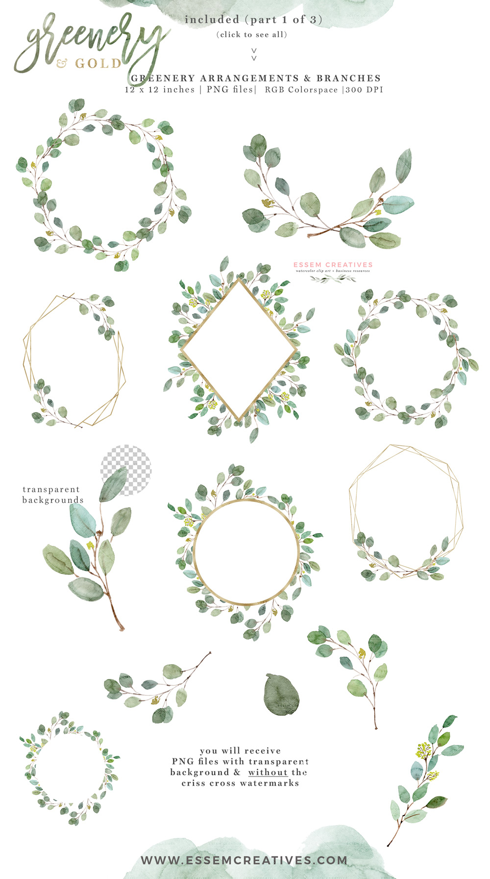 Greenery and Gold Wedding Invitation Graphics, Eucalyptus Branch Leaves  Clipart for Invitations Logo Stationery Welcome Signs.