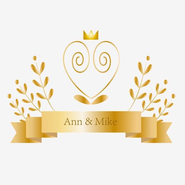 Golden Love Ribbon Wedding Invitation Logo, Golden, Spiral.
