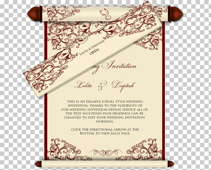 Wedding invitation India Scroll Hindu wedding, wedding card.