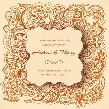Wedding invitation swirls floral clip art free vector.