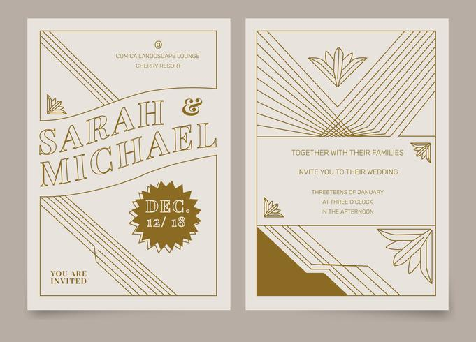 Brown Vintage Art Deco Wedding Invitation Vector Template.