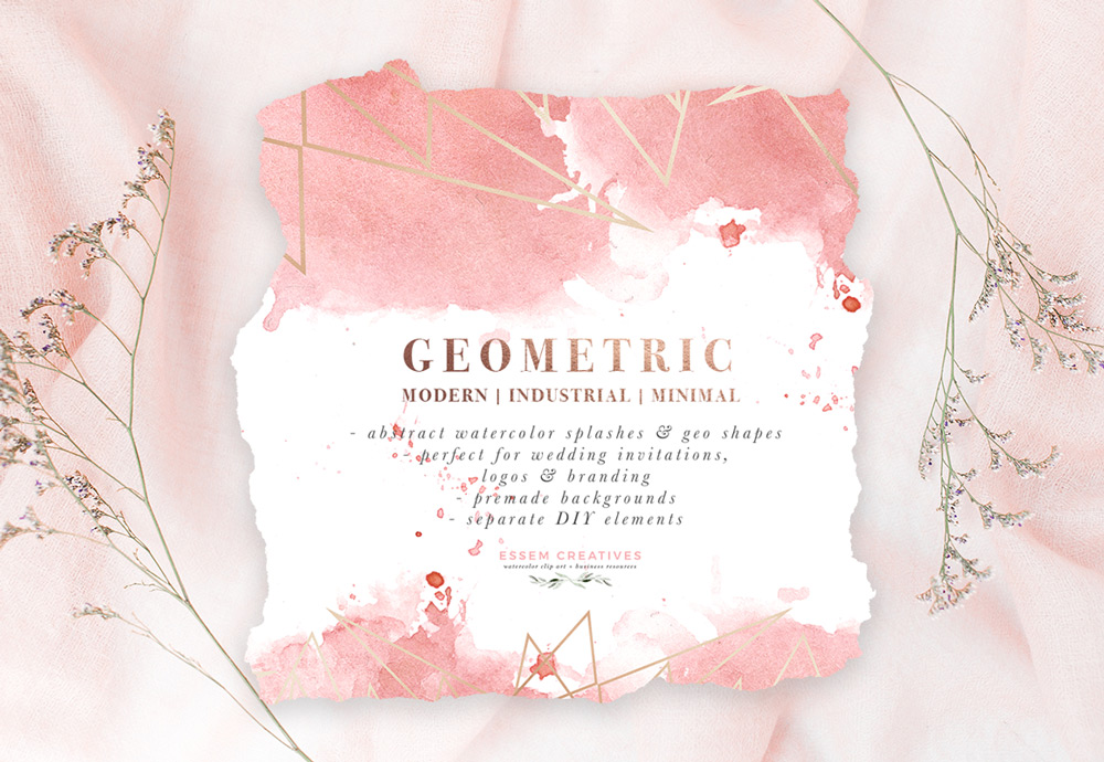 DIY Geometric Watercolor Wedding Invitation Backgrounds & Clipart, Table  Number Decorations DIY.