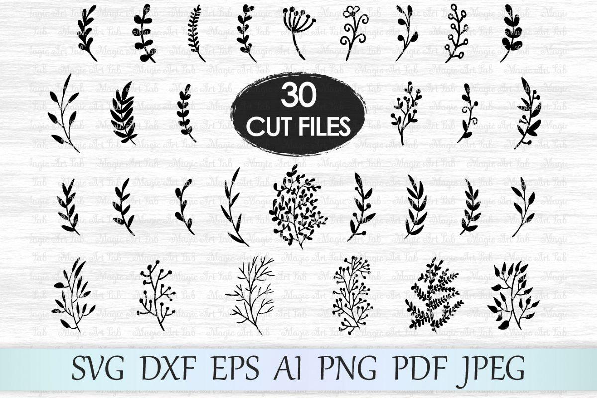 Leaf svg file, Leaves svg file, Branches svg file, Wedding invitation  clipart, Hand drawn leaves, Ornament svg file, Foliage cut file, Plant.