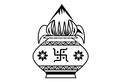 Indian Wedding Kalash Line Art Black White stock vector art.
