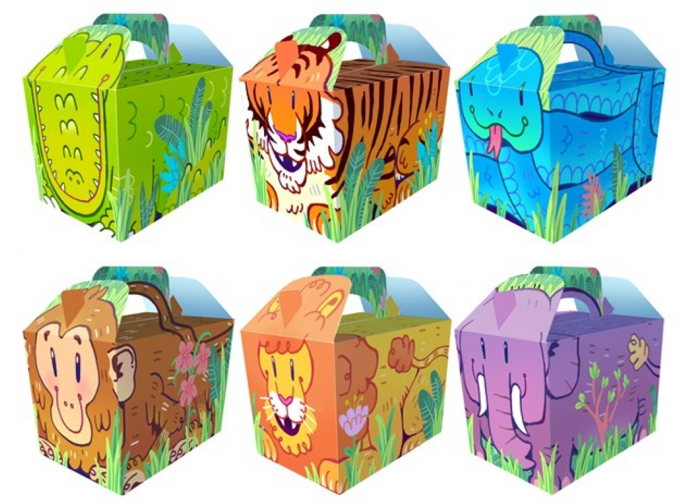 Details about 10 Cartoon Jungle Boxes.
