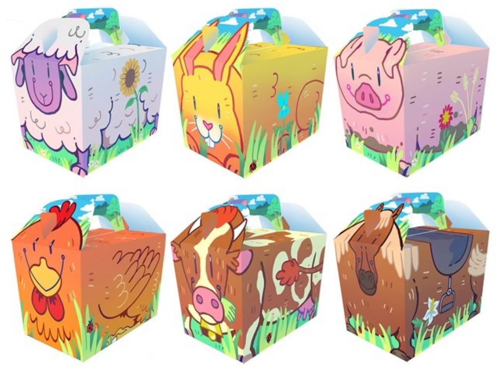 Details about 10 Cartoon Farm Boxes.