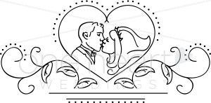 Clipart of Wedding Kiss.