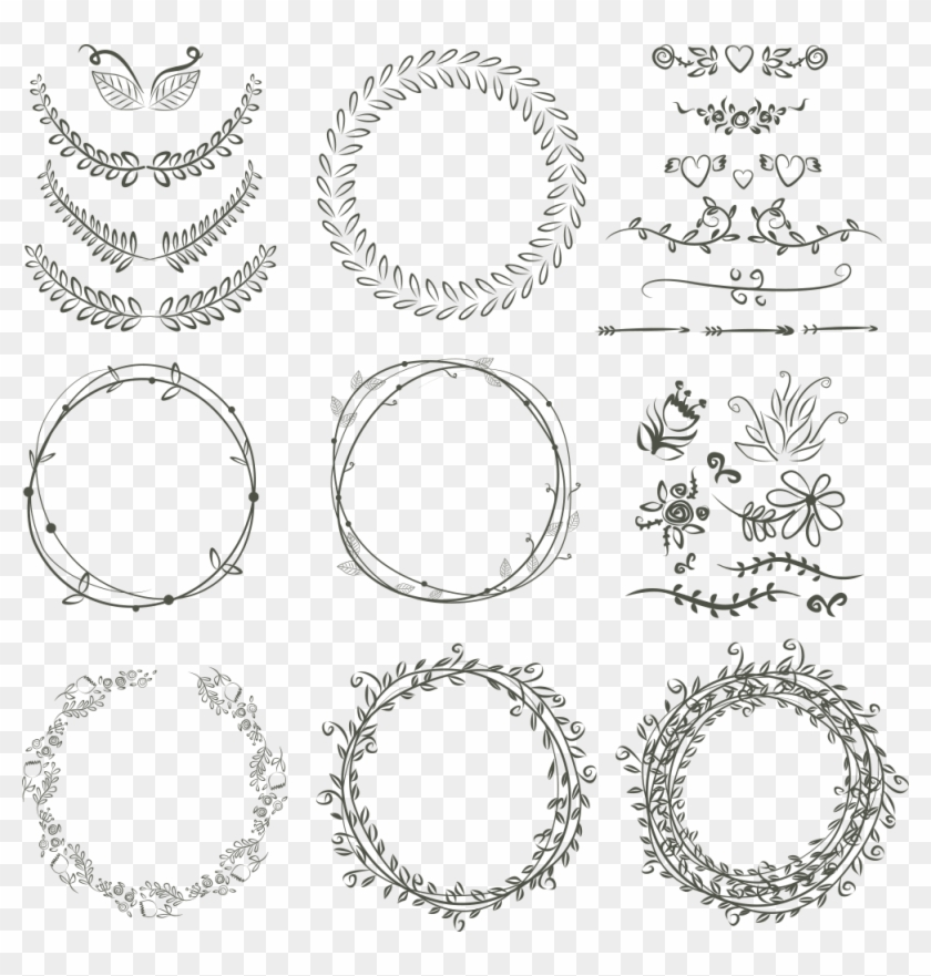 Laurel Wreath Wedding Invitation Drawing Scalable Vector.