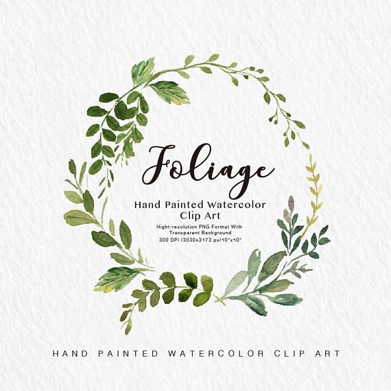 Watercolor leaf Clip Art.