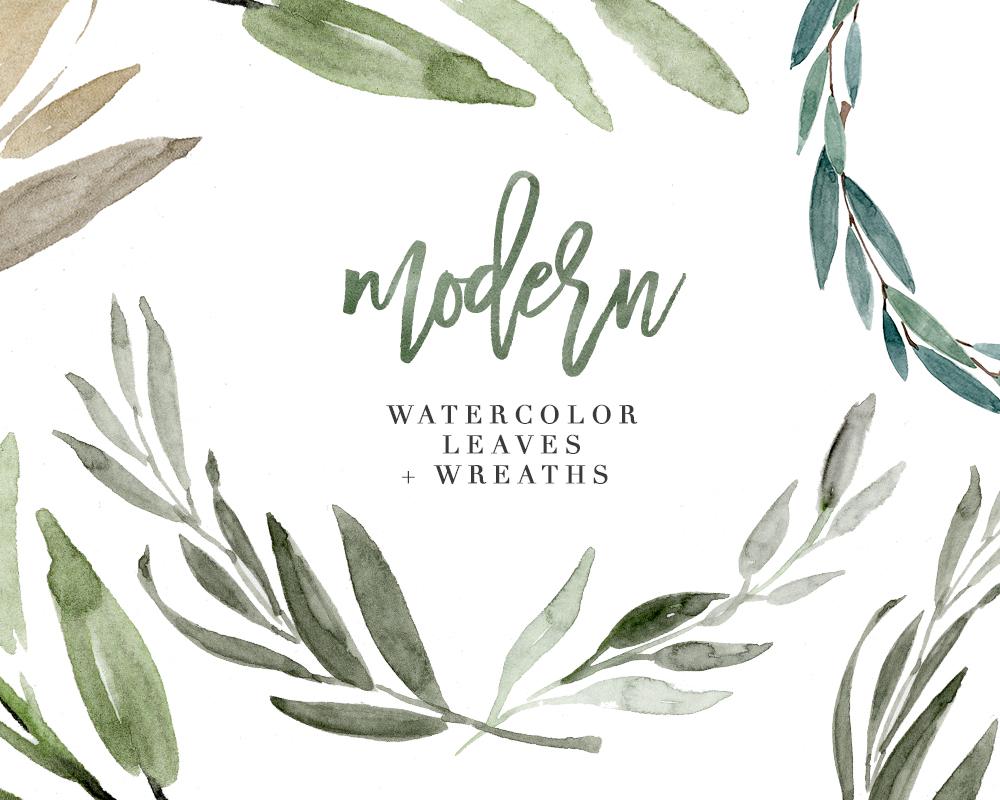 Modern Watercolor Leaves Clipart, Eucalyptus Wreath, Greenery Rustic  Wedding Clipart.