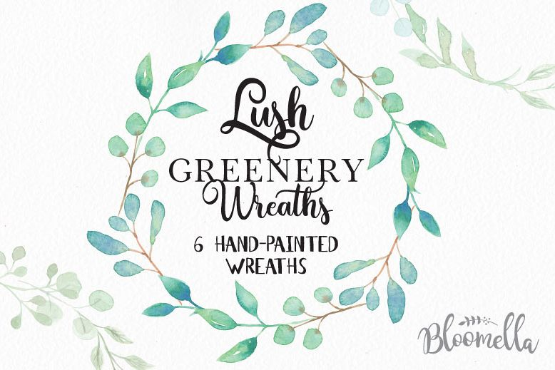 Watercolor Lush greenery Leaves Leaf Clipart Wreaths Garlands Wedding.