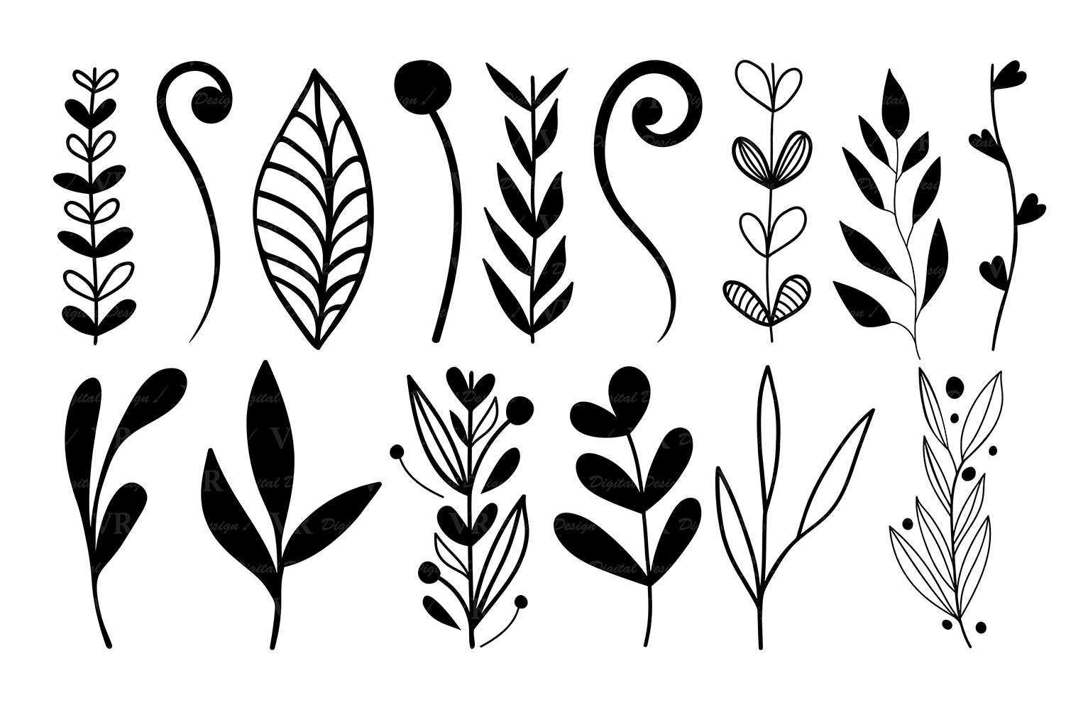 Wreaths Clipart, Hand drawn black design elements, Digital wreath, laurels,  leaves and branches, Wedding clipart, Vector.