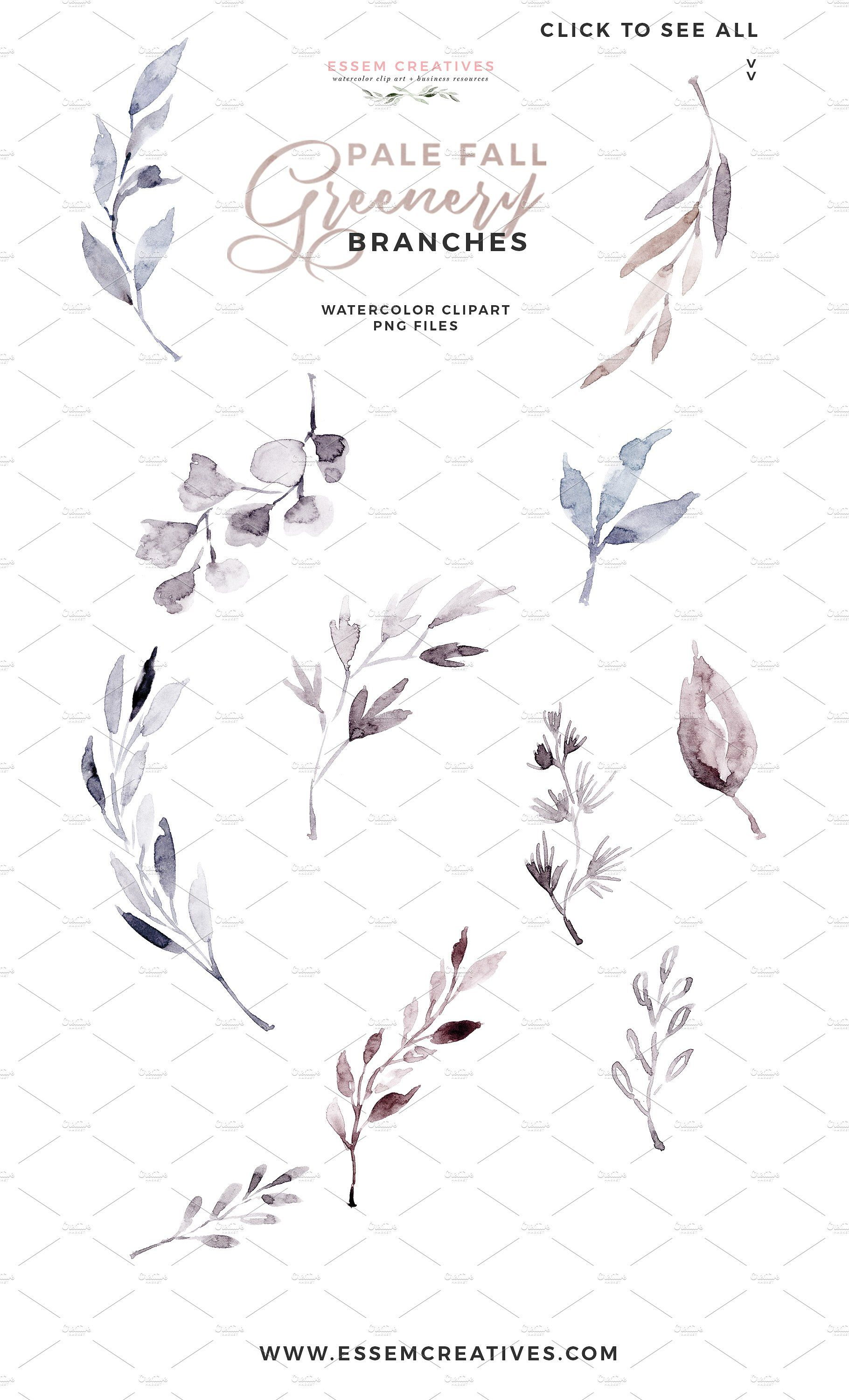 Watercolor Fall Leave Floral Clipart by Essem Creatives on.