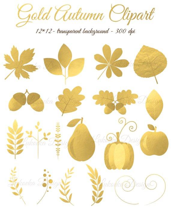 Gold foil Autumn Leaves Clipart Digital Gold Autumn Golden.