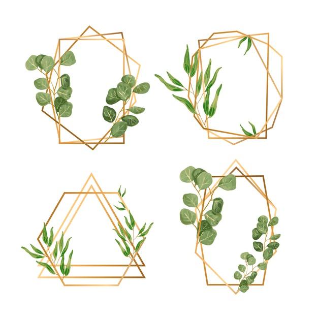 Golden frames with leaves for wedding invitation Vector.