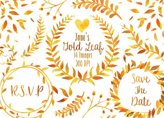 Watercolor Gold Leaf Clipart.