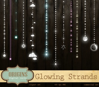 Glowing Strands, Stars, Wedding, Party Lights Clipart.