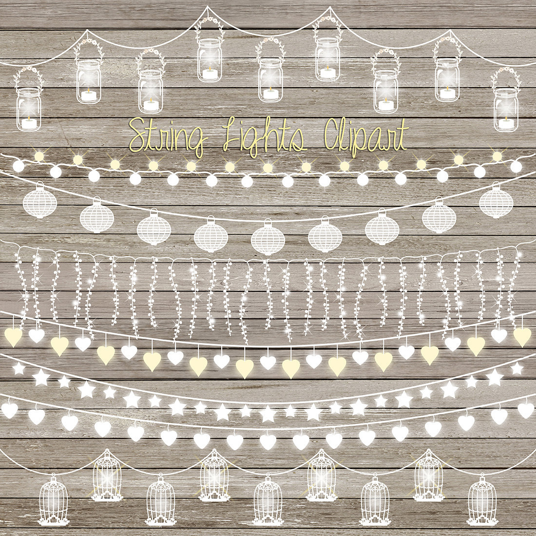 """String lights clip art: """"STRING LIGHTS CLIPART"""" with wedding."""