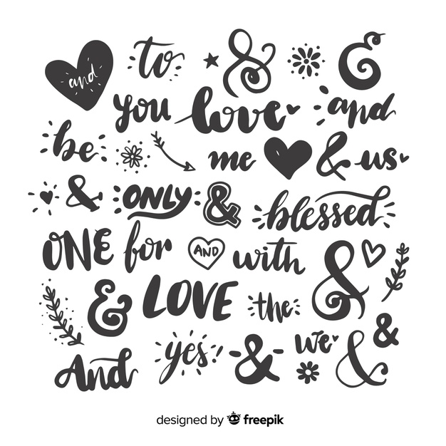 Wedding quotes and ampersands Vector.