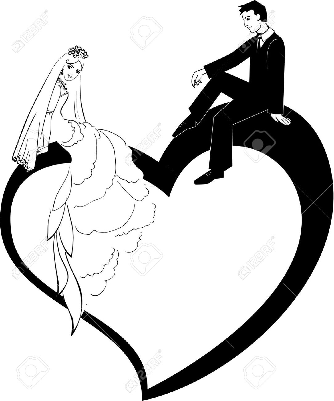 Illustration Of Wedding Couple Royalty Free Cliparts, Vectors, And.