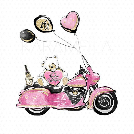 Motorcycle Valentine Clipart, Mixed Couple Clipart, Single.