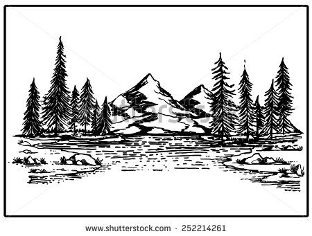 Mountain lake forest pine trees rock vector illustration.