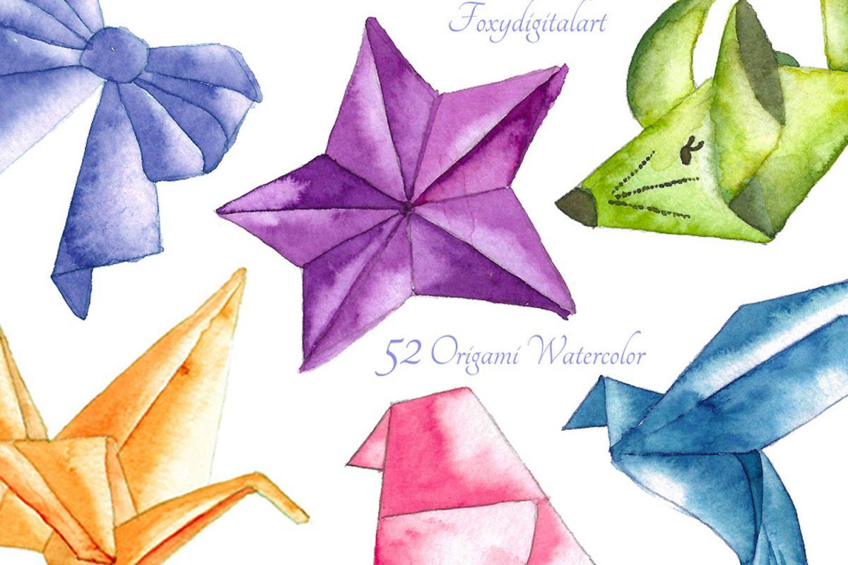 Origami Crane Watercolor Clipart.