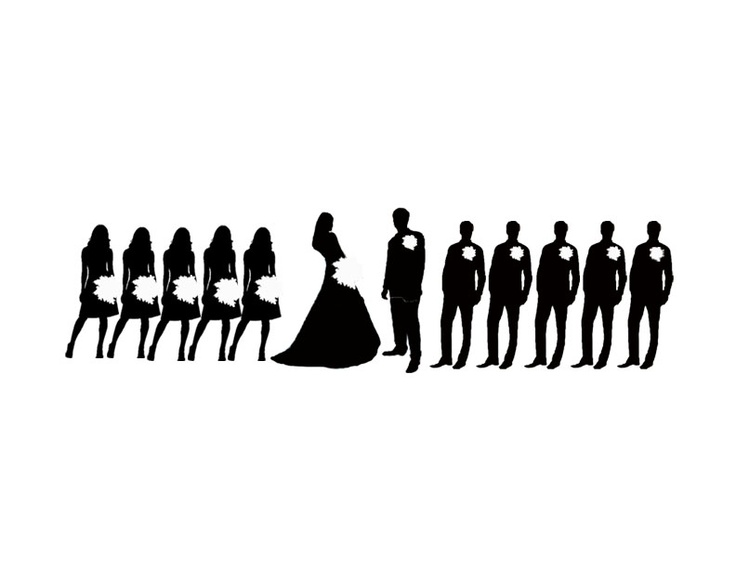 wedding party silhouette clip art.
