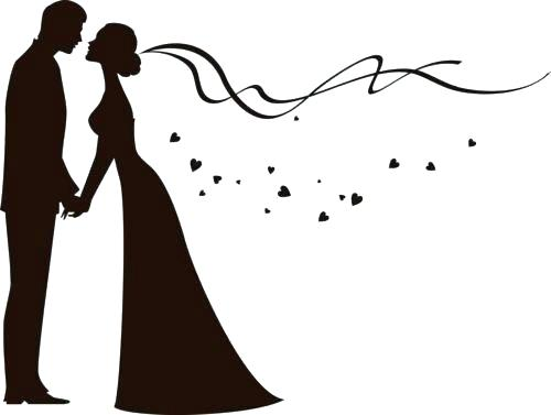 wedding party silhouette template.