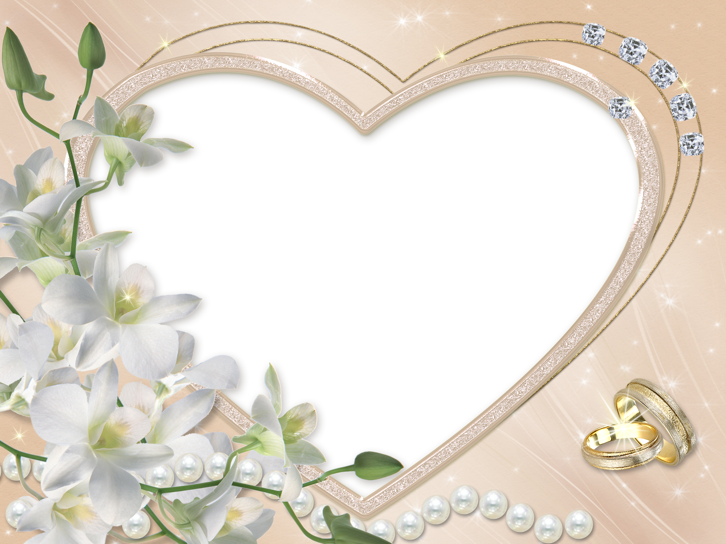 Heart Wedding Flower Transparent Frame.