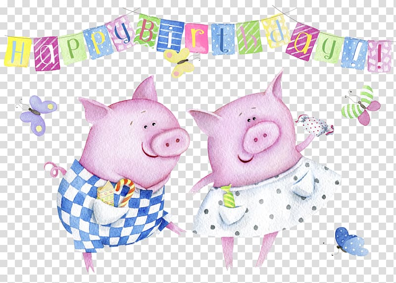 Domestic pig Wedding invitation Birthday Greeting card.