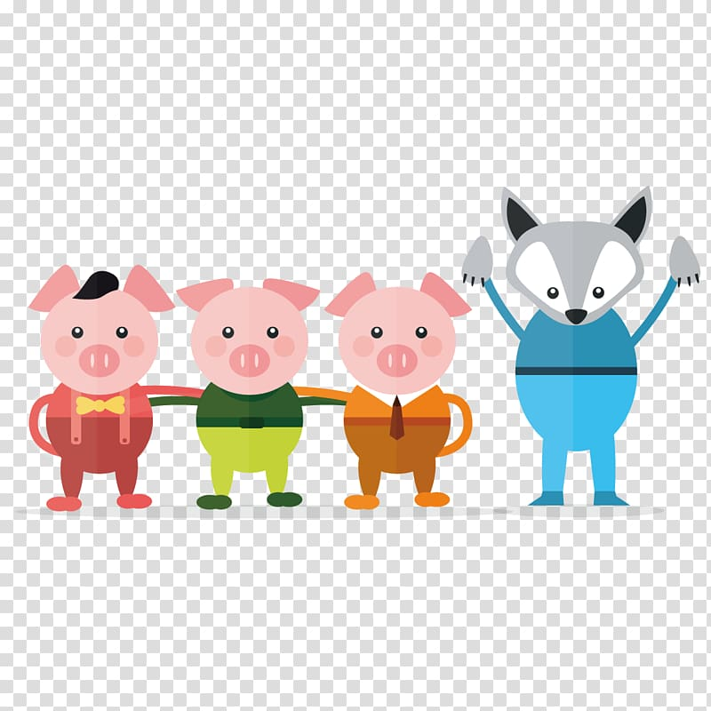 Three little pigs illustration, Fairy tale Illustration.