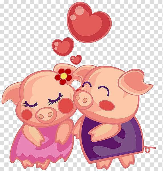Two pigs , Domestic pig Porky Pig Miss Piggy Cartoon.