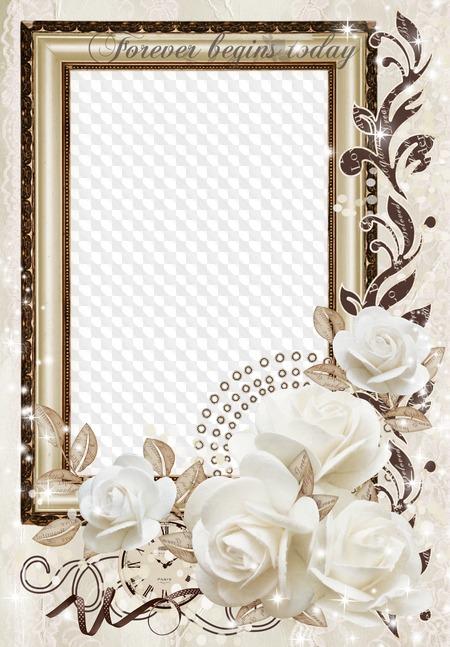 Free wedding png frame photo frame psd wedding white roses.