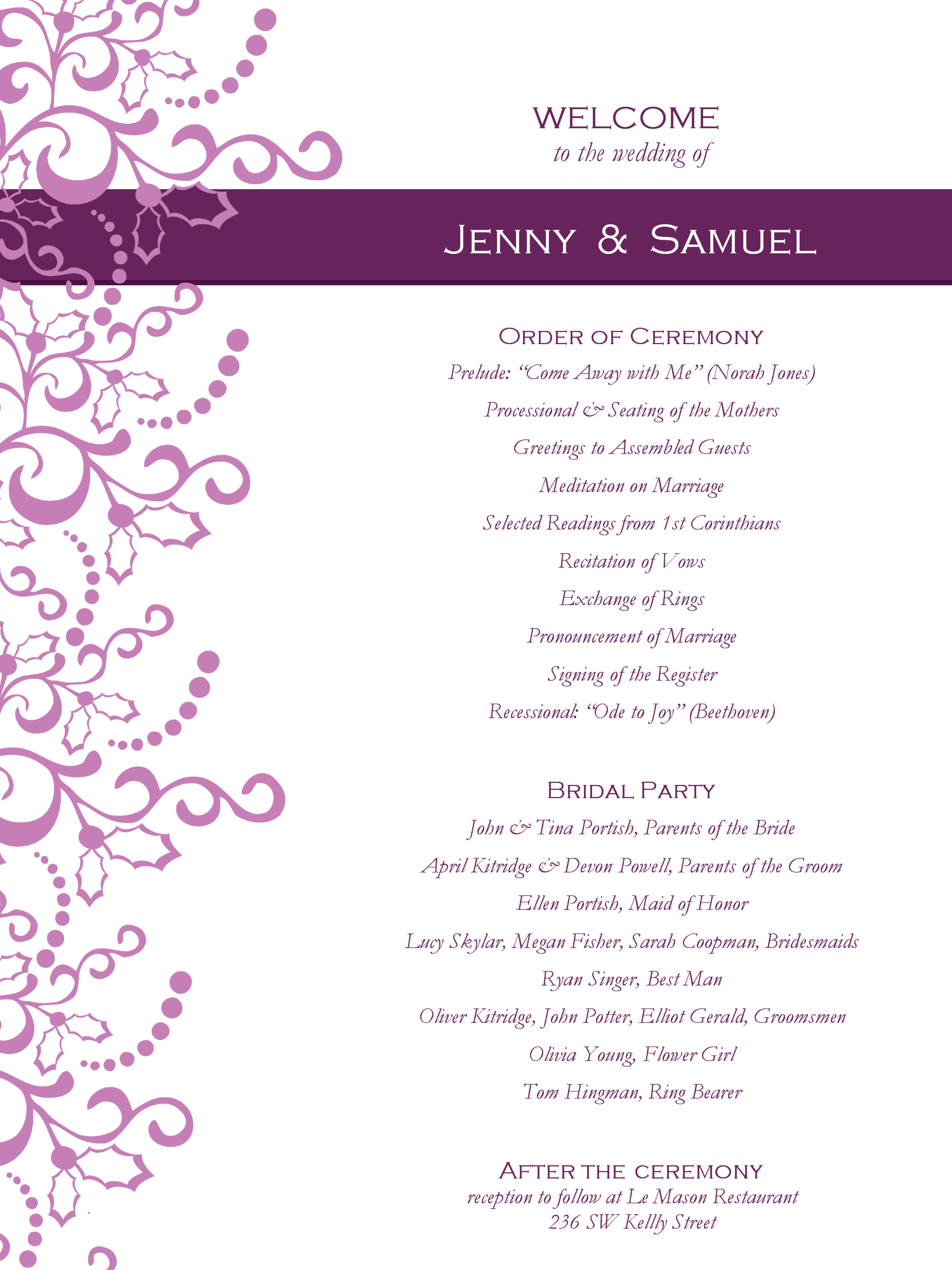 046 Wedding Program Template Free Printable Ideas Romance.