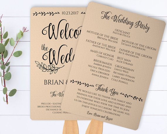 Rustic Wedding Program Template.