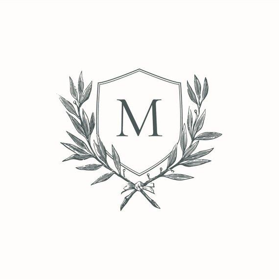 Monogram Wedding Crest, Initial Wreath, Instant Digital.