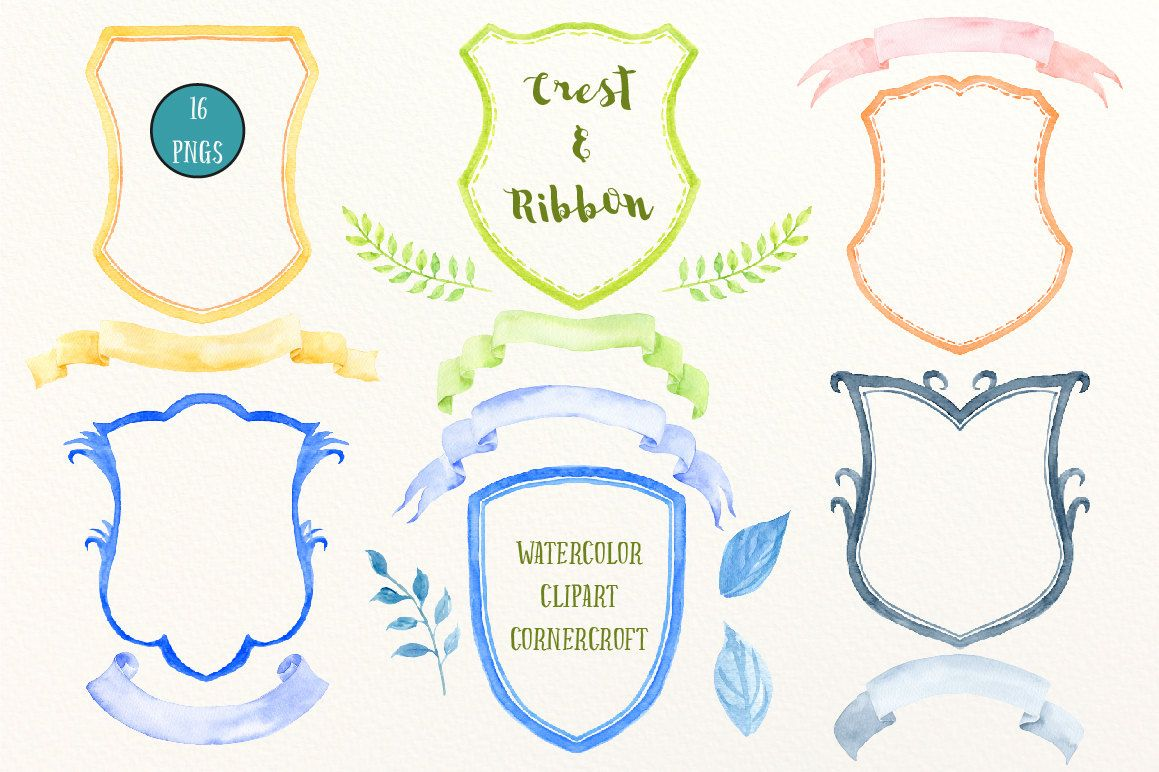 Hand painted watercolor crest frames and ribbons for instant.