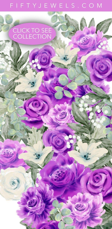 Watercolor Clip Art Wedding, Purple Roses, Peony, Peonies.