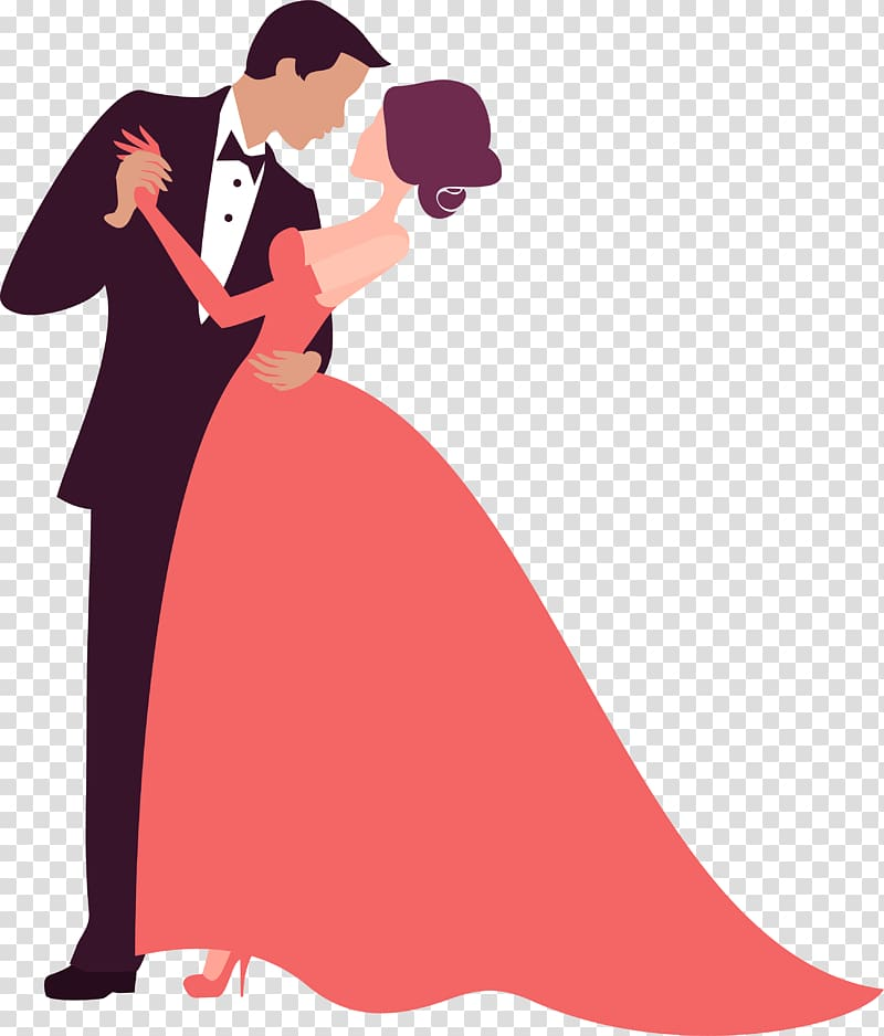 Newly wed illustration, Bridegroom Wedding , Couple dancing.